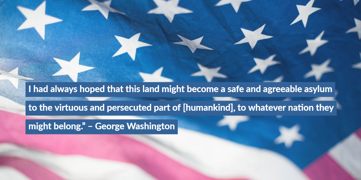 Flag with George Washington Quote