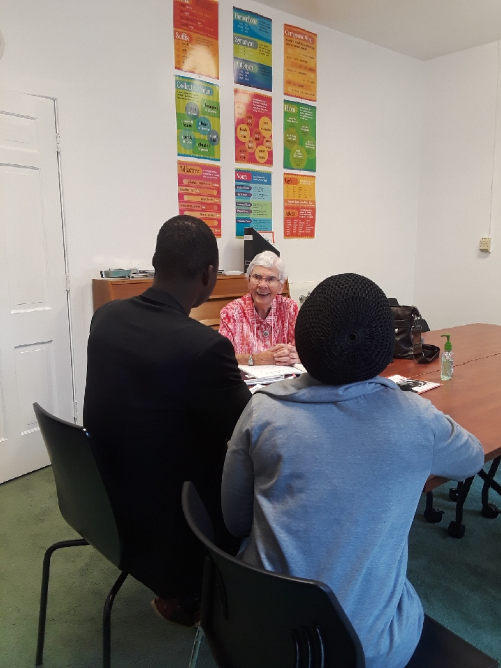 Sister Kathleen with Asylum Seekers