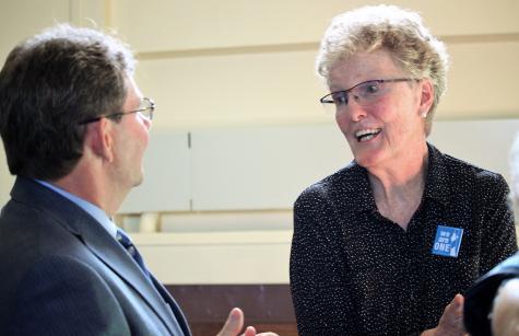 Sister Arlene Flaherty speaking at NDMU